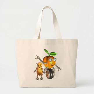 ApricotBot and PeanutBot Large Tote Bag
