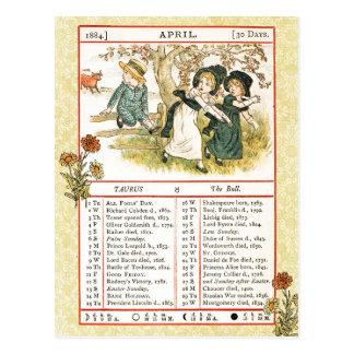 April 1884 Almanac.  Taurus, The Bull Postcard