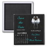 April 2011 Save the Date, Wedding Announcement 2 Inch Square Magnet