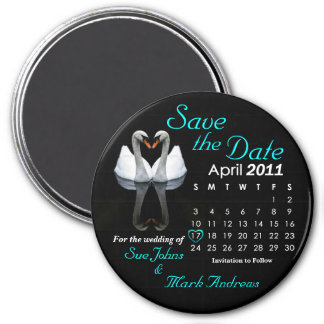 April 2011 Save the Date, Wedding Announcement 3 Inch Round Magnet
