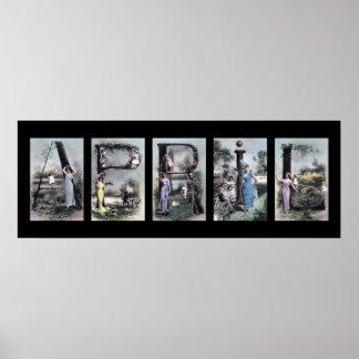 APRIL Alphabet Letter Name Art Poster