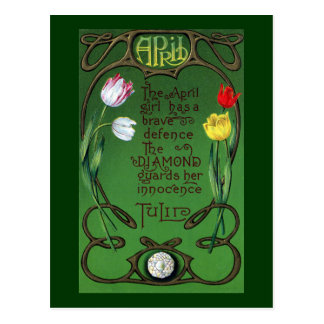 April Art Nouveau Birthday with Tulips Postcard