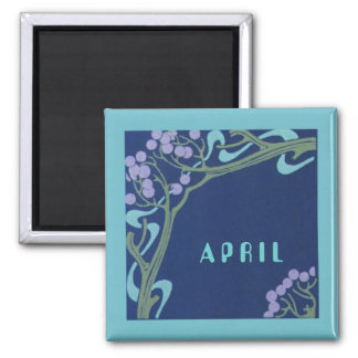 April Art Nouveau Square Magnet by Janz