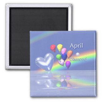 April Birthday Diamond Heart 2 Inch Square Magnet