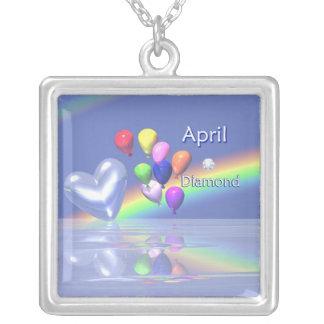 April Birthday Diamond Heart Square Pendant Necklace