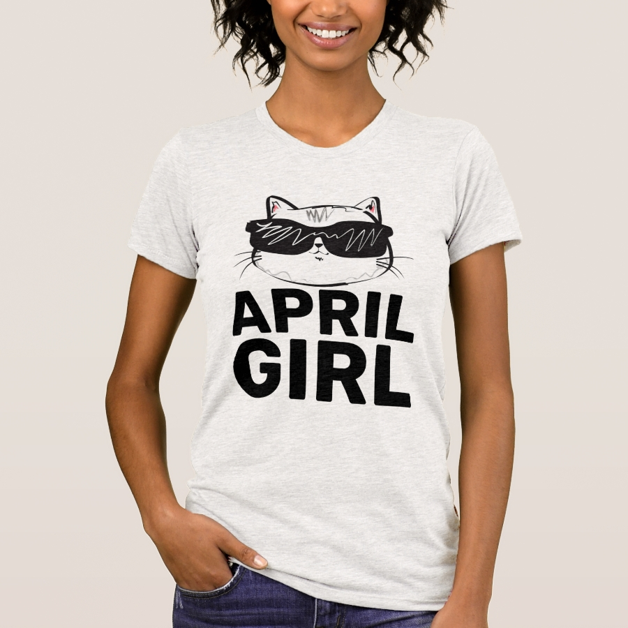 APRIL BIRTHDAY GIRL Cat T-Shirts - Best Selling Long-Sleeve Street Fashion Shirt Designs