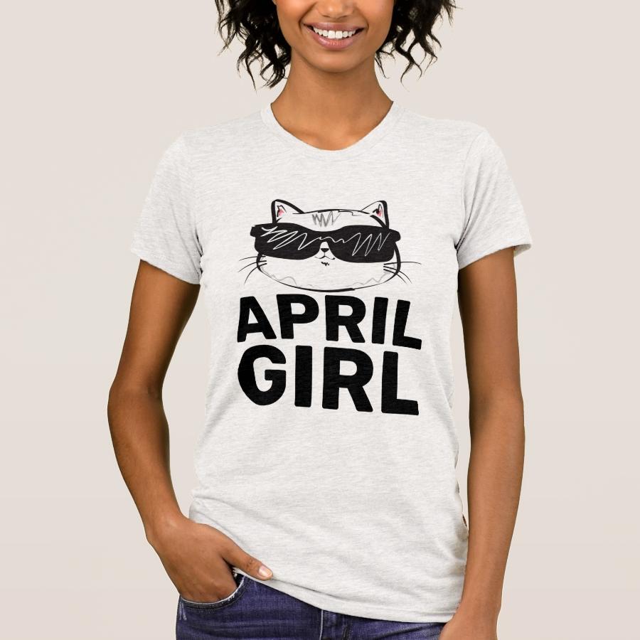 APRIL BIRTHDAY GIRL Cat T-Shirts - Best Selling Long-Sleeve Street Fashion Shirt Designs