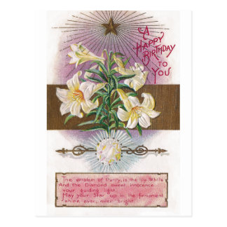 April Birthday Lily and Diamond Birthstone Postcard