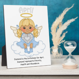 April Birthstone Angel Blonde Plaque