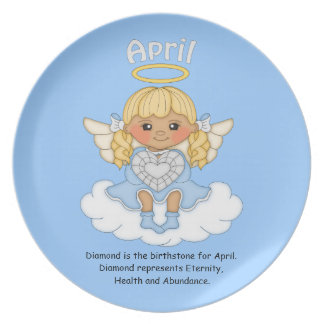 April Birthstone Angel Blonde Party Plate