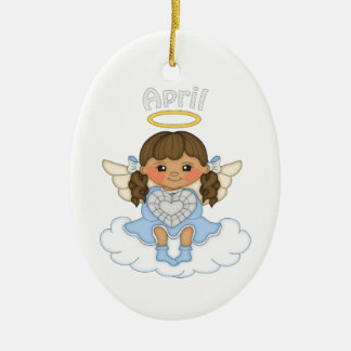 April Birthstone Angel Brunette Ceramic Ornament