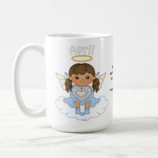 April Birthstone Angel Brunette Coffee Mug