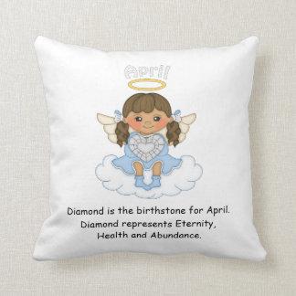 April Birthstone Angel Brunette Pillow