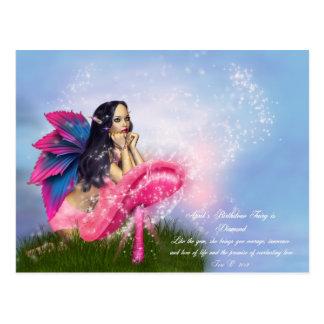 April Birthstone Fairy Postcard