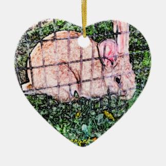 April Bunny Double-Sided Heart Ceramic Christmas Ornament