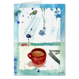 April Coffee - Months & Seasons Coffee Art Series Greeting Cards