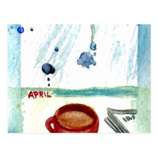 April Coffee - Months & Seasons Coffee Art Series Postcard