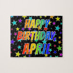 "[ Thumbnail: ""April"" First Name, Fun ""Happy Birthday"" Jigsaw Puzzle ]"