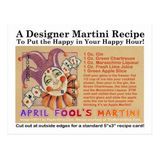 April Fool's Day Martini Recipe Card Postcard