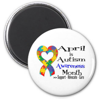April is Autism Awareness Month 2 Inch Round Magnet