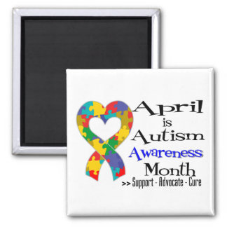 April is Autism Awareness Month 2 Inch Square Magnet
