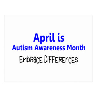 April Is Autism Awareness Month Embrace Difference Postcard