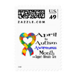 April is Autism Awareness Month Postage Stamp