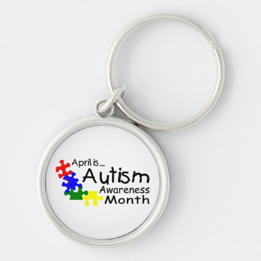 April Is Autism Awareness Month (PP) Silver-Colored Round Keychain