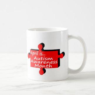 April is Autism Awareness Month (RedBlk Piece) Coffee Mug