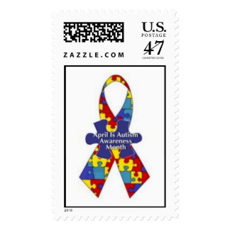 April Is Autism Awareness Month Ribbon Postage
