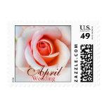 April Peach Pink Rose Wedding Postage