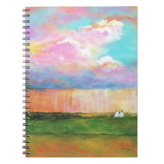 April Showers Abstract Landscape House Painting Spiral Note Books