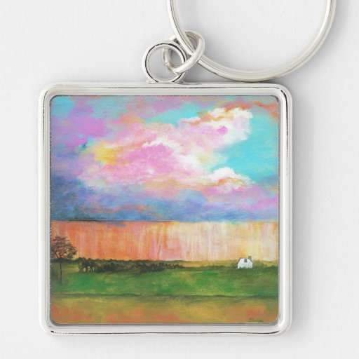 April Showers Abstract Landscape House Painting Silver-Colored Square Keychain