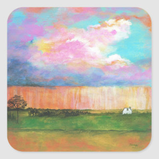 April Showers Abstract Landscape House Painting Square Sticker