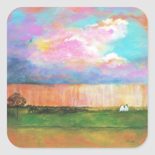 April Showers Abstract Landscape House Painting Sticker