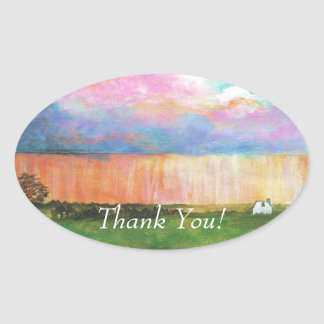 April Showers Abstract Landscape House Painting Oval Sticker