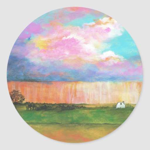 April Showers Abstract Landscape House Painting Round Sticker