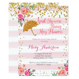 April showers may flowers invitations zazzle april showers baby shower invitation gold pink filmwisefo