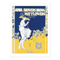 April Showers Bring May Flowers Songbook Cover Postcard