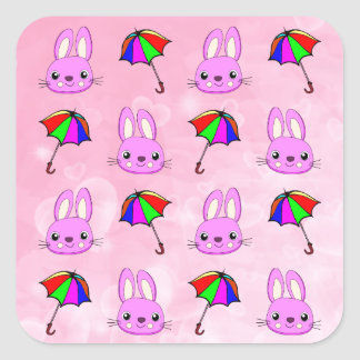April Showers Bring Pink Bunnies Square Sticker