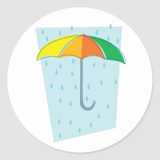 April Showers Brolly Classic Round Sticker