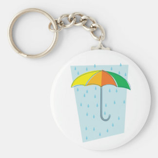 April Showers Brolly Basic Round Button Keychain