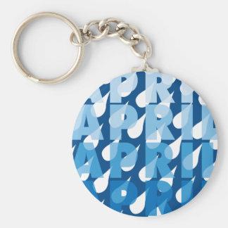 April Showers Basic Round Button Keychain
