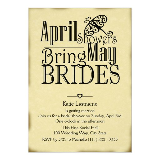 April Showers May Brides 5x7 Paper Invitation Card
