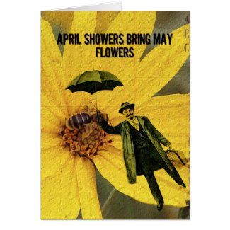 April Showers May Flowers Digital Art Card