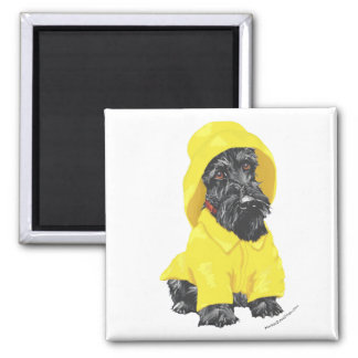 April Showers Scottish Terrier 2 Inch Square Magnet