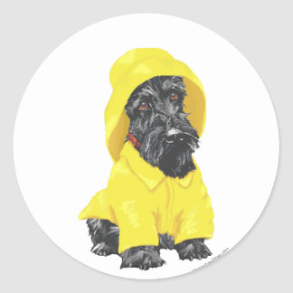 April Showers Scottish Terrier Classic Round Sticker