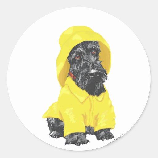 April Showers Scottish Terrier Round Stickers