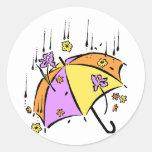 April Showers Umbrella Classic Round Sticker