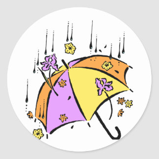 April Showers Umbrella Classic Round Sticker